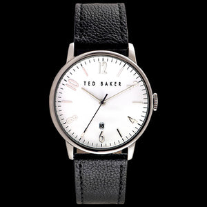 TED BAKER DANIEL WHITE DIAL BLACK LEATHER WATCH