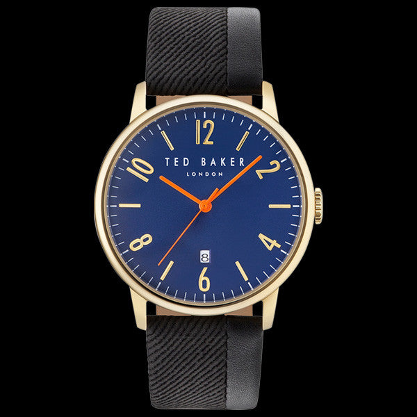 TED BAKER DANIEL GOLD BLUE DIAL BLACK LEATHER WATCH