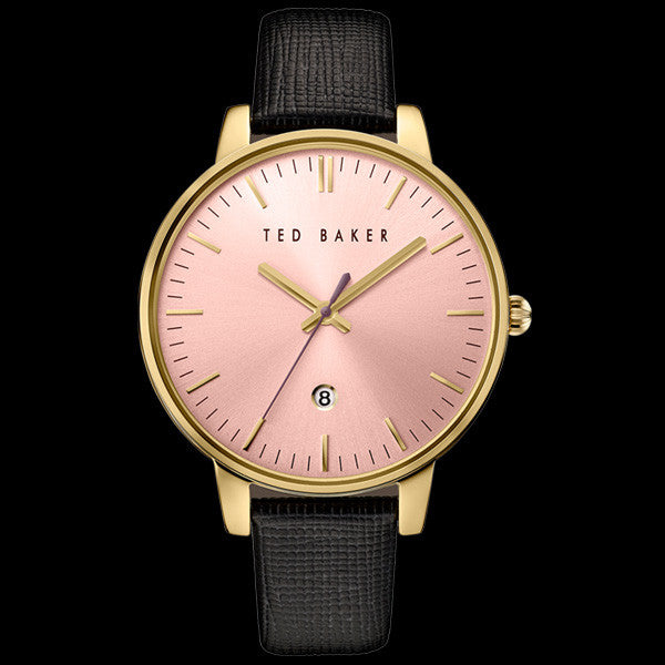 TED BAKER KATE GOLD PINK DIAL BLACK LEATHER WATCH