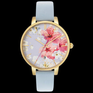 TED BAKER KATE GOLD FLORAL DIAL BLUE LEATHER WATCH