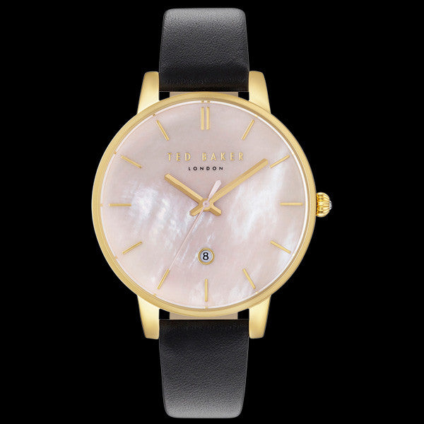 TED BAKER KATE GOLD PEARL DIAL BLACK LEATHER WATCH
