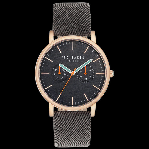 TED BAKER BRIT ROSE GOLD BLACK DIAL CHRONO BROWN LEATHER WATCH