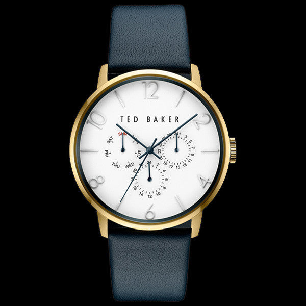 81004aa84142 TED BAKER JAMES GOLD WHITE DIAL CHRONO BLUE LEATHER WATCH – Silver Steel