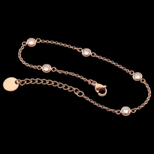 ELLANI STAINLESS STEEL ROSE GOLD BEZEL CZ CHAIN BRACELET