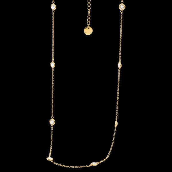 ELLANI STAINLESS STEEL GOLD BEZEL CZ 48CM CHAIN NECKLACE
