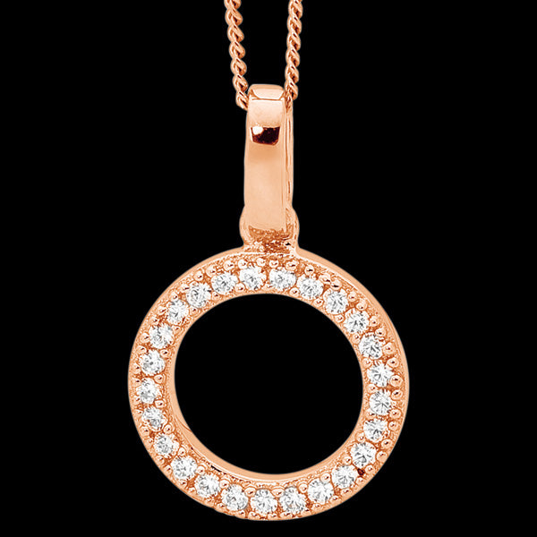 ELLANI STERLING SILVER ROSE GOLD PAVE CZ DROP CIRCLE NECKLACE