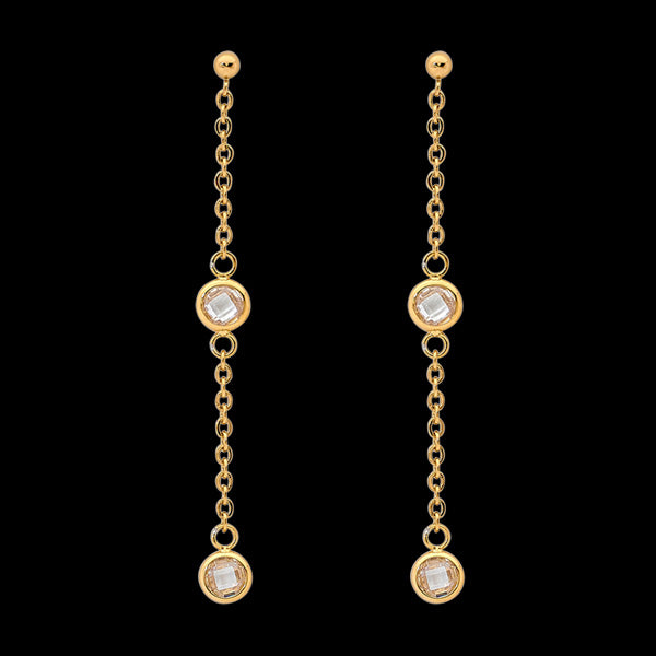 ELLANI STAINLESS STEEL GOLD BEZEL CZ CHAIN DROP EARRINGS