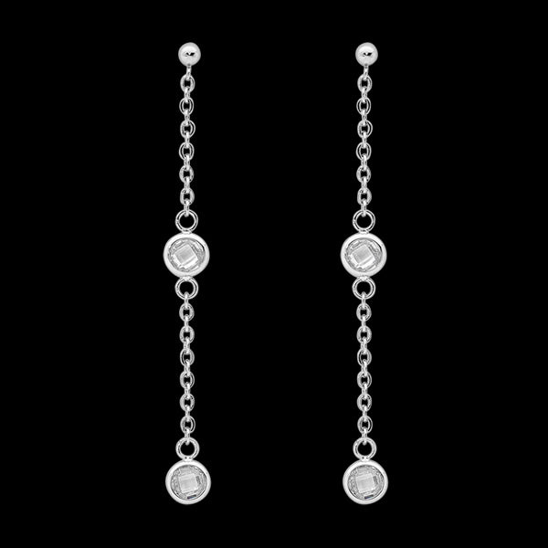 ELLANI STAINLESS STEEL BEZEL CZ CHAIN DROP EARRINGS