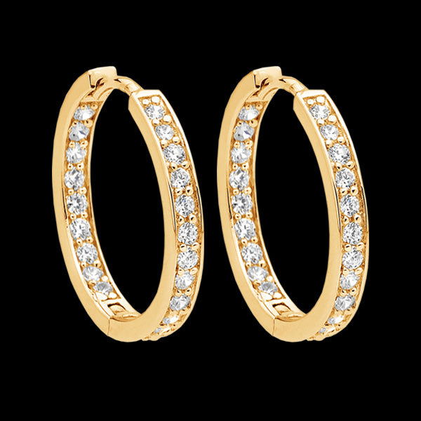 ELLANI STERLING SILVER GOLD INSIDE OUT 23MM PAVE HOOP EARRINGS