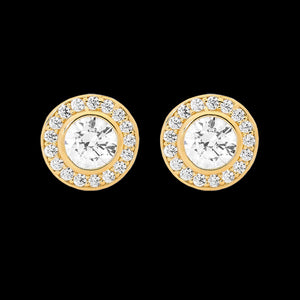 ELLANI STERLING SILVER GOLD HALO PAVED CZ BEZEL EARRINGS