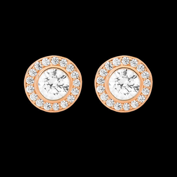 ELLANI STERLING SILVER ROSE GOLD HALO PAVED CZ BEZEL EARRINGS