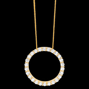 ELLANI STERLING SILVER GOLD 20MM CZ PAVE CIRCLE NECKLACE