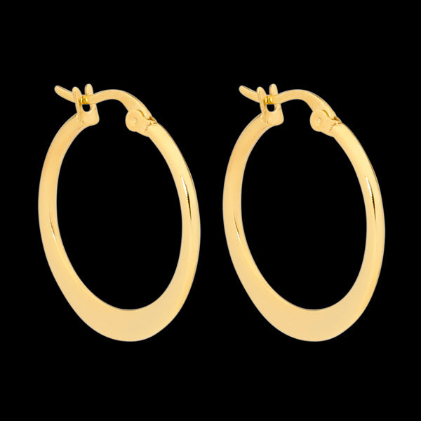 ELLANI STAINLESS STEEL GOLD 20MM FLAT HOOP EARRINGS