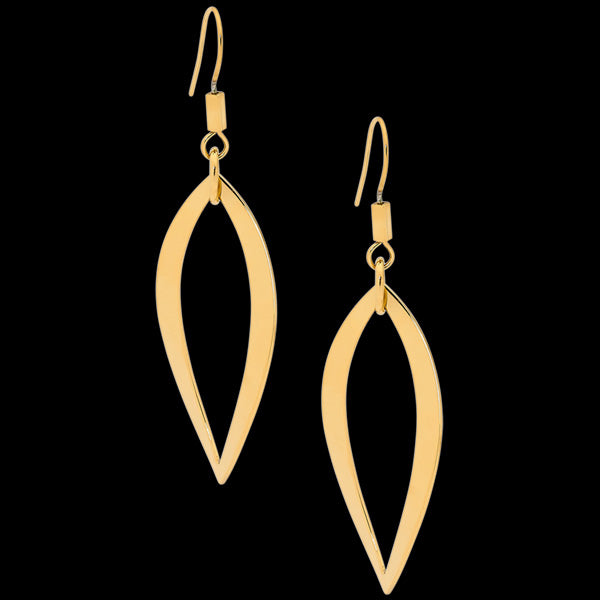 ELLANI STAINLESS STEEL GOLD OPEN WAVE LEAF EARRINGS
