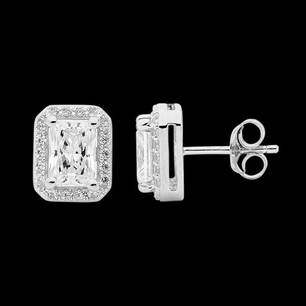 ELLANI STERLING SILVER OBLONG EMERALD CUT CZ PAVE EARRINGS