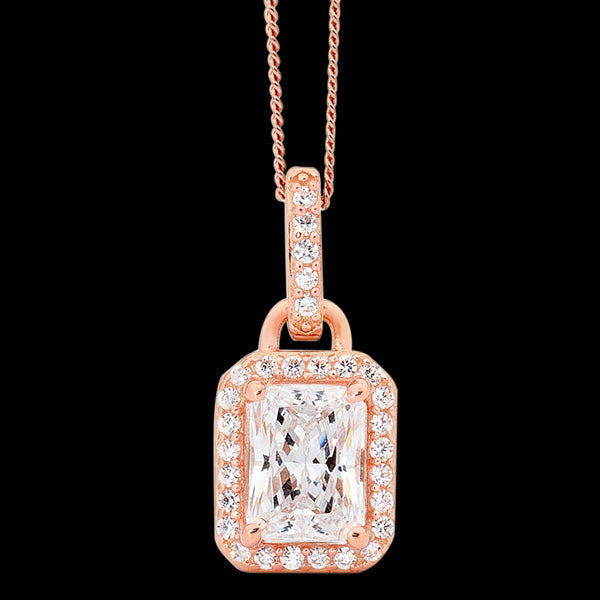 ELLANI STERLING SILVER ROSE GOLD OBLONG EMERALD CUT CZ PAVE NECKLACE