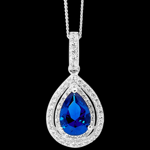 ELLANI STERLING SILVER PEAR SAPPHIRE CZ DOUBLE PAVE NECKLACE