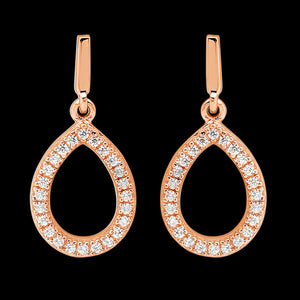 ELLANI STERLING SILVER ROSE GOLD PAVE CZ TEARDROP EARRINGS