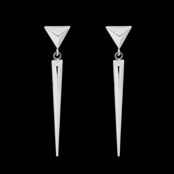 ELLANI STAINLESS STEEL SPEAR DROP EARRINGS