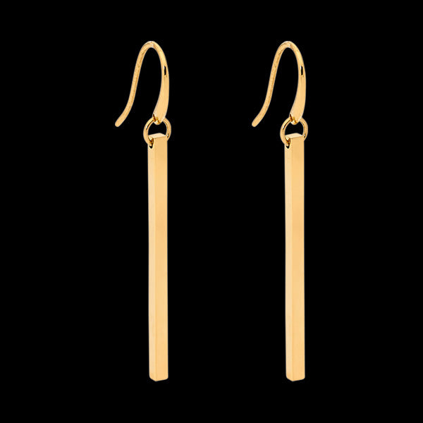 ELLANI STAINLESS STEEL GOLD BAR DROP EARRINGS
