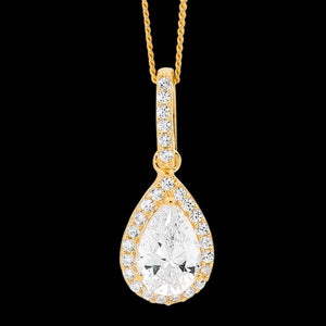 ELLANI STERLING SILVER GOLD PEAR CZ PAVE NECKLACE