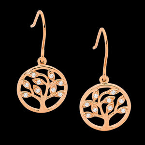 ELLANI STERLING SILVER ROSE GOLD TREE OF LIFE CZ EARRINGS