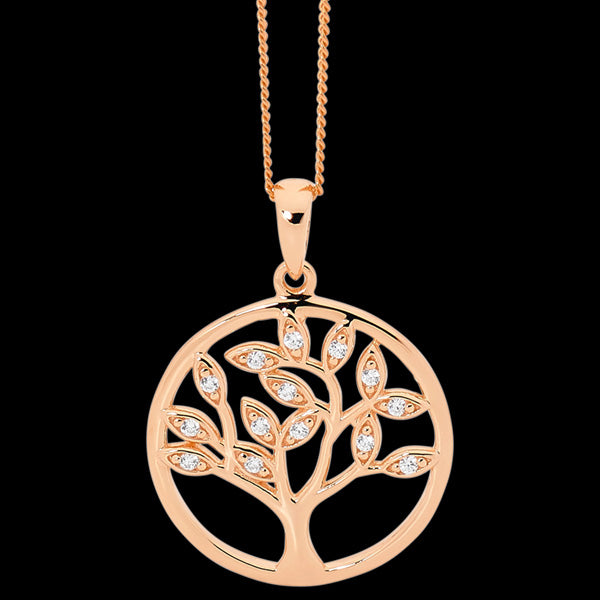 ELLANI STERLING ROSE GOLD SILVER TREE OF LIFE CZ NECKLACE