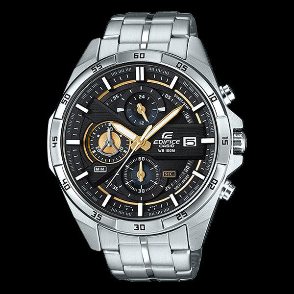 CASIO EDIFICE 500 SERIES BLACK GOLD DIAL CHRONOGRAPH WATCH EFR556D-1A