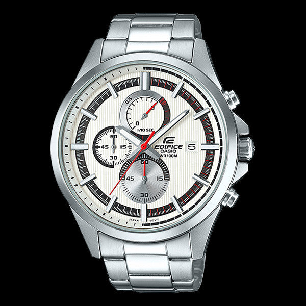 CASIO EDIFICE WHITE BLACK DIAL CHRONOGRAPH WATCH EFV520D-7A