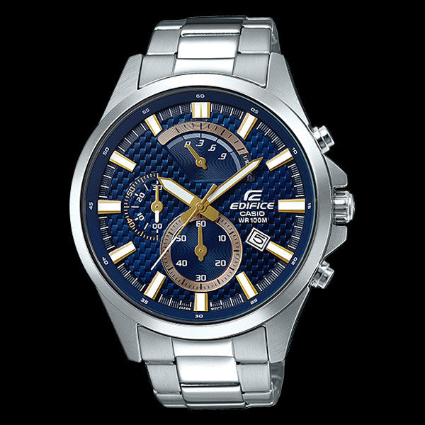 CASIO EDIFICE BLUE CARBON FIBRE DIAL RETRO CHRONOGRAPH WATCH EFV530D-2A