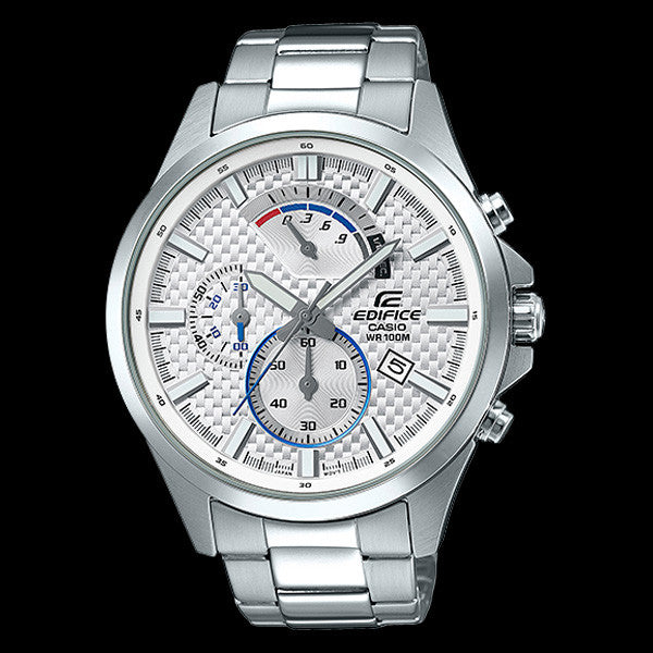 CASIO EDIFICE WHITE CARBON FIBRE DIAL RETRO CHRONOGRAPH WATCH EFV530D-7A