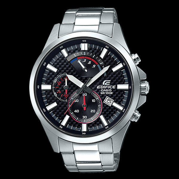 CASIO EDIFICE BLACK CARBON FIBRE DIAL RETRO CHRONOGRAPH WATCH EFV530D-1A