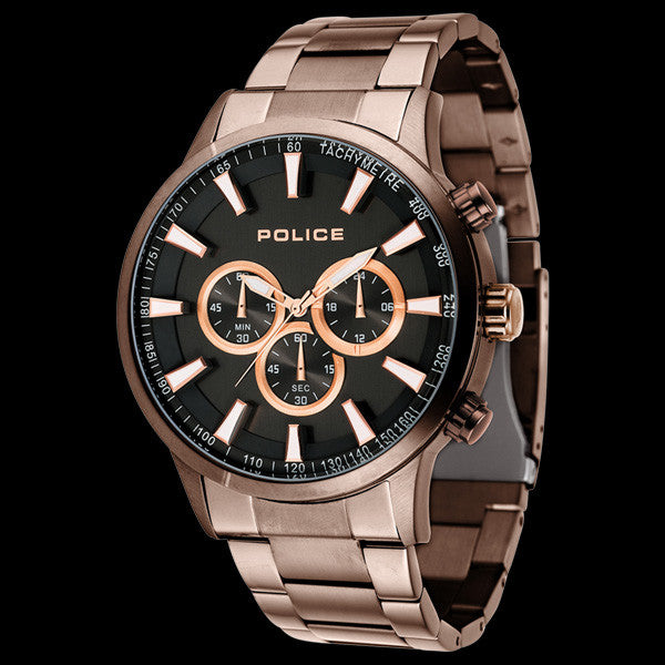 POLICE MEN'S MOMENTUM COPPER BLACK DIAL WATCH
