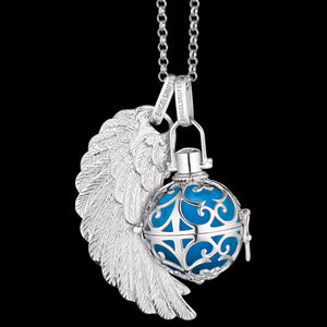 ENGELSRUFER SILVER TURQUOISE SOUNDBALL PENDANT WITH OPTIONAL WING