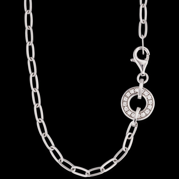 ENGELSRUFER 3.3MM SILVER 80CM CZ ANCHOR CHAIN NECKLACE