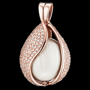 ENGELSRUFER ROSE GOLD MEDIUM PAVE CZ TEAR SOUNDBALL PENDANT