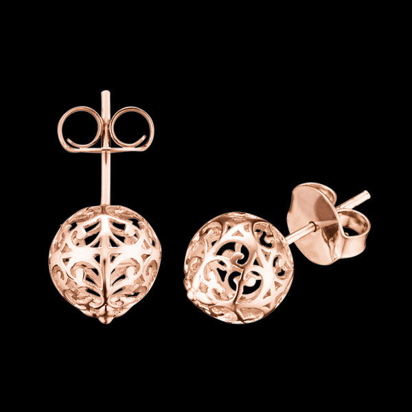 ENGELSRUFER ROSE GOLD CAGE BALL STUD EARRINGS