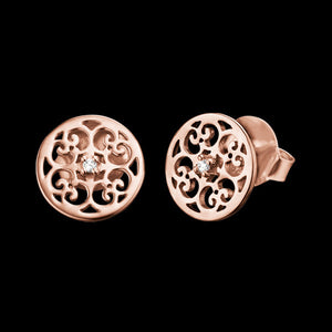 ENGELSRUFER ROSE GOLD ARABESQUE ROUND STUD EARRINGS