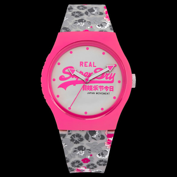 SUPERDRY URBAN FLORAL PINK WHITE WATCH