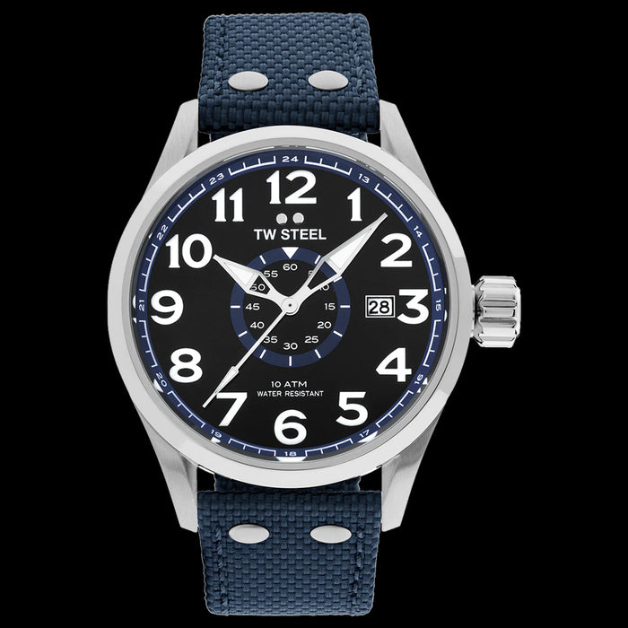 TW STEEL VOLANTE 45MM 3-HANDS BLUE STRAP WATCH VS31