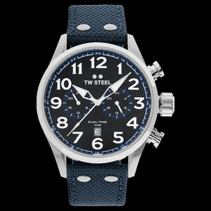 TW STEEL VS38 VOLANTE 48MM DUAL TIME BLUE STRAP WATCH