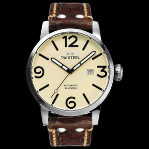 TW STEEL MS25 MAVERICK 45MM AUTOMATIC BROWN LEATHER WATCH