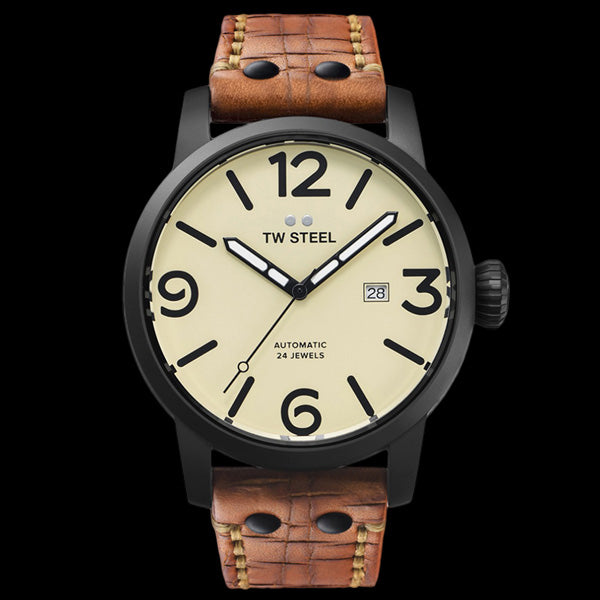 TW STEEL MAVERICK 45MM BLACK AUTOMATIC TAN LEATHER WATCH MS45