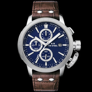 TW STEEL CE7009 CEO ADESSO 45MM BLUE DIAL CHRONO BROWN LEATHER WATCH