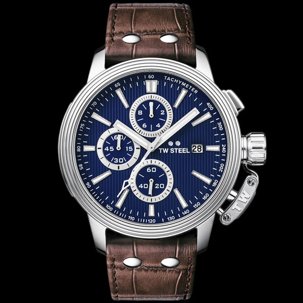 TW STEEL CEO ADESSO 45MM BLUE DIAL CHRONO BROWN LEATHER WATCH CE7009