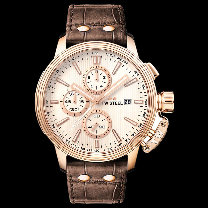 TW STEEL CEO ADESSO 45MM ROSE GOLD CHRONO BROWN LEATHER WATCH CE7013