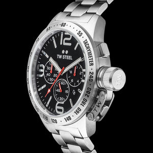 TW STEEL CANTEEN 50MM BLACK DIAL CHRONO WATCH CB8 - SIDE VIEW