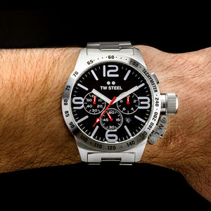 TW STEEL CANTEEN 50MM BLACK DIAL CHRONO WATCH CB8 - WRIST VIEW