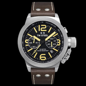 TW STEEL CS34 CANTEEN 50MM CHRONO BROWN LEATHER WATCH