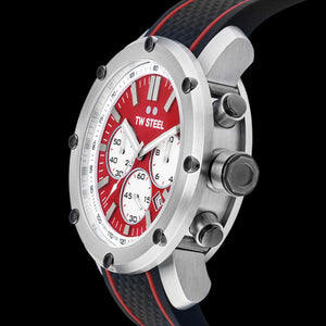 TW STEEL GRANDEUR TECH 48MM RED DIAL CHRONO SILICON WATCH TS1 - SIDE VIEW